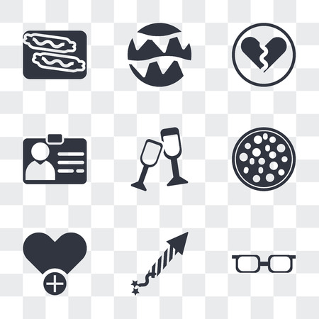 Set Of 9 simple transparency icons such as Teenager with sun glasses, Firecrackers, Add to Favorite, Pizza Slice Cut, Cheers, Identification Pass, Broken heart, Celebration garlands, Burning sausage Иллюстрация
