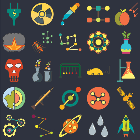 Set Of 25 icons such as Rocket ship, Drops, Saturn, Circles, Mechanics, Flask, Mouse, Circle, Geology, Explosion, Dropper, Radiation on black background, web UI editable icon pack