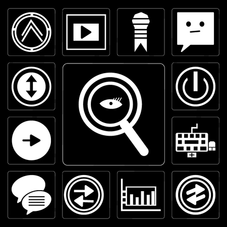 Set Of 13 simple editable icons such as Magnifying Glass Searcher, o Arrow, Bar diagram, Press play button, Conversation speech bubbles, Keyboard, Play On off power button on black background