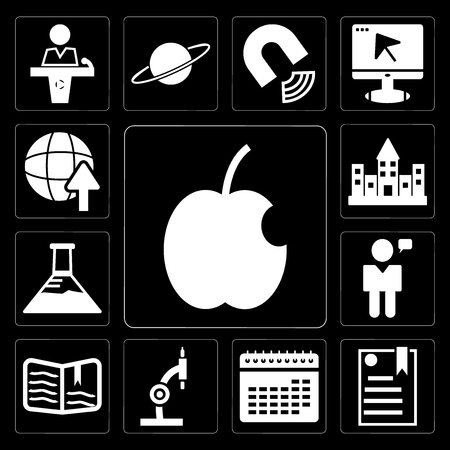 Set Of 13 simple editable icons such as Apple, eBook, School Calendar, Microscope, Open book, Man talking, Erlenmeyer flask, University campus, International Studies on black background