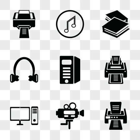 Set Of 9 simple transparency icons such as Printer with printed paper, Video camera, PC computer monitor, Printer, Computer tower, Headphone black shape, Book closed of white cover, Musical Illustration