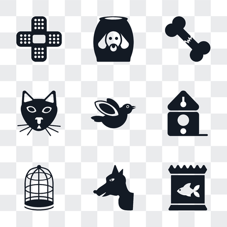 Set Of 9 simple transparency icons such as Food, Dog, Cage, Birdhouse, Bird, Cat, Bone, Plaster, can be used for mobile, pixel perfect vector icon pack on transparent background