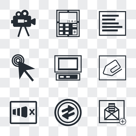 Set Of 9 simple transparency icons such as Open envelope, o Arrow, Sound on, Clip, Laptop frontal monitor, Mouse cursor, Left side alignment, Calculator, Video Camera, can be used for mobile, pixel
