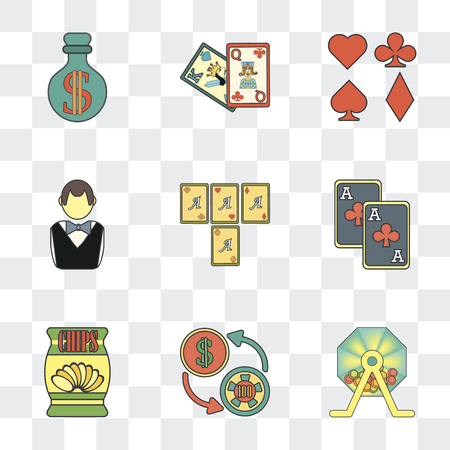 Set Of 9 simple transparency icons such as Lottery, Exchange, Chips, Gambler, Cards, Money, can be used for mobile, pixel perfect vector icon pack on transparent background
