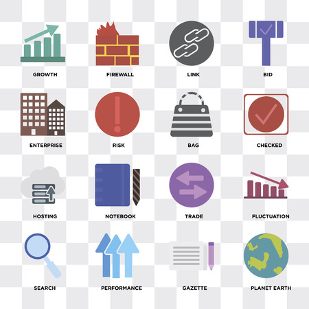Set Of 16 icons such as Planet earth, Gazette, Performance, Search, Fluctuation, Growth, Enterprise, Hosting, Bag on transparent background, pixel perfect Illustration
