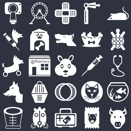 Set Of 25 icons such as Pig, Food, Medicine, Oxygen mask, Elizabethan collar, Turtle, Injection, Hamster ball, Dog, Veterinarian, Plaster, Wheel on black background, web UI editable icon pack Illustration
