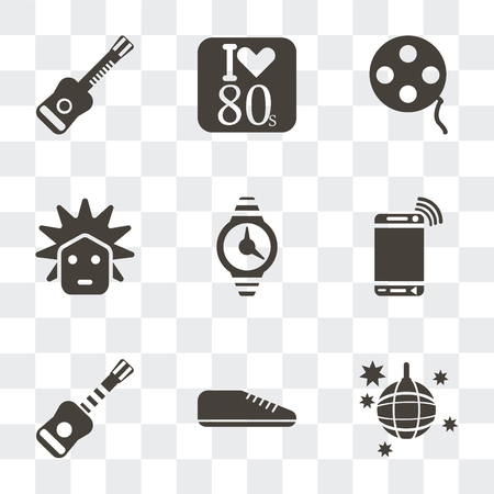 Set Of 9 simple transparency icons such as Disco ball, Sneaker, Electric guitar, Mobile phone, Watch, Rocker, Film reel, Eighties, can be used for mobile, pixel perfect vector icon