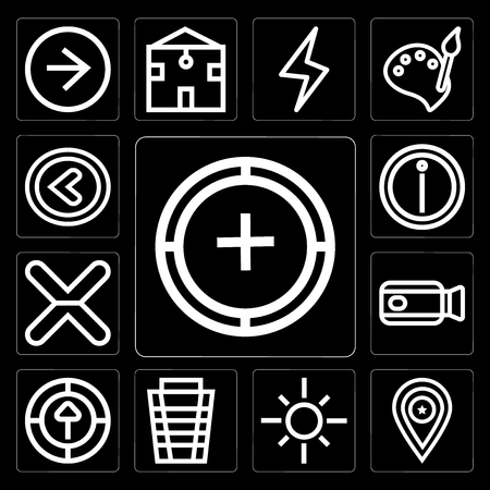 Set Of 13 simple editable icons such as Add, Placeholder, Sun, Garbage, Upload, Video camera, Cancel, Info, Left arrow on black background Ilustração