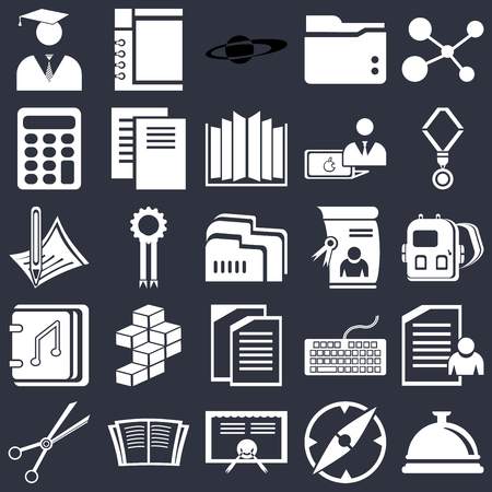 Set Of 25 icons such as Bell, Compass, Diploma, Open book, School material, Medal, Copy, Audiobook, Calculator, Saturn, Notepad on black background, web UI editable icon pack