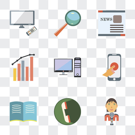 Set Of 9 simple transparency icons such as Male reporter, Phone call, Open book, Hand gesture, Computer monitor, Levels, Text, Search engine, Tv screen, can be used for mobile, pixel perfect vector