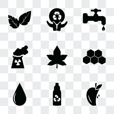 Set Of 9 simple transparency icons such as Half Apple, Recycled bottle, Drop, Eco power cells, Mapple leaf, Nuclear Plant, Water tap, Global recycling, Leaves, can be used for mobile, pixel perfect