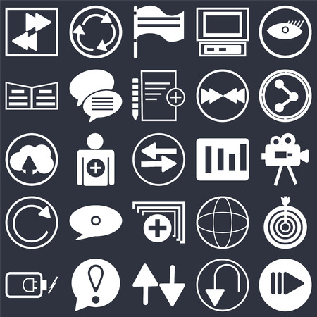 Set Of 25 simple editable icons such as Watch dark eye, Undo Arrow, Share, Exclamation mark, Battery power, Target, Add, web UI icon pack, pixel perfect