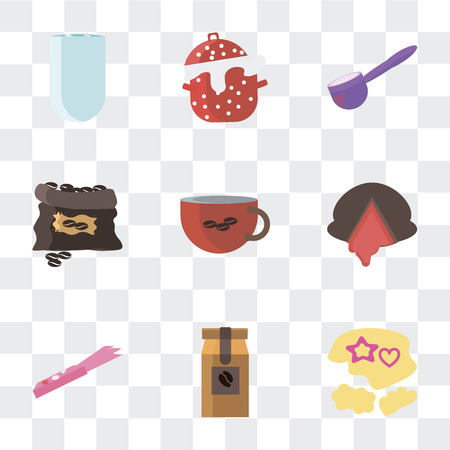 Set Of 9 simple transparency icons such as Mould, Coffee bag, Gum, Chocolate, cup, grain, Spoon, Cooking pot, Iced coffee, can be used for mobile, pixel perfect vector icon pack on