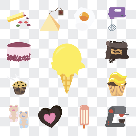 Set Of 13 simple editable icons such as Ice cream, Coffee machine, Chocolate, Gummy bear, Cupcake, Muffin, grain, Cake on transparent background