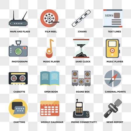 Ensemble de 16 icônes telles que rapport d'actualités, connectivité téléphonique, calendrier hebdomadaire, discussion, points cardinaux, cartes et drapeaux, photographie, cassette, horloge de sable sur fond transparent, pixel parfait Vecteurs