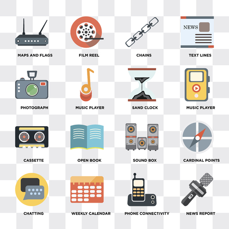 Set Of 16 icons such as News report, Phone connectivity, Weekly calendar, Chatting, Cardinal points, Maps and Flags, Photograph, Cassette, Sand clock on transparent background, pixel perfect