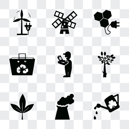 Set Of 9 simple transparency icons such as Watering Can, Power plant, Leaf, Tree, Global Awareness, Recycled bag, Bio energy, Wind mills, Eco Plug, can be used for mobile, pixel perfect vector icon  イラスト・ベクター素材