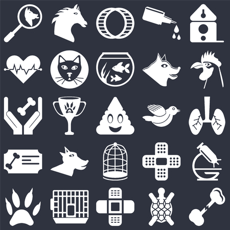 Set Of 25 icons such as Bone, Turtle, Bandage, Cage, Paw, Rooster, Bird, Certificate, Cardiogram, Hamster ball, Horse on black background, web UI editable icon pack