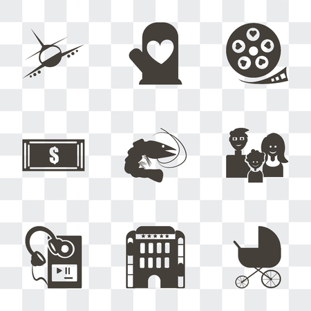 Set Of 9 simple transparency icons such as Stroller, Hotel building, MP3 player with headphones, Family avatars, Prawn, Dollar bills, Film strip heart, Cooking mitts, Airplane flight, can be Иллюстрация