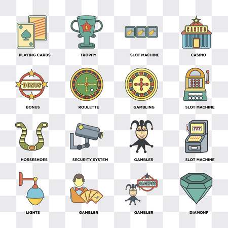 Set Of 16 icons such as Diamonf, Gambler, Lights, Slot machine, Playing cards, Bonus, Horseshoes, Gambling on transparent background, pixel perfect