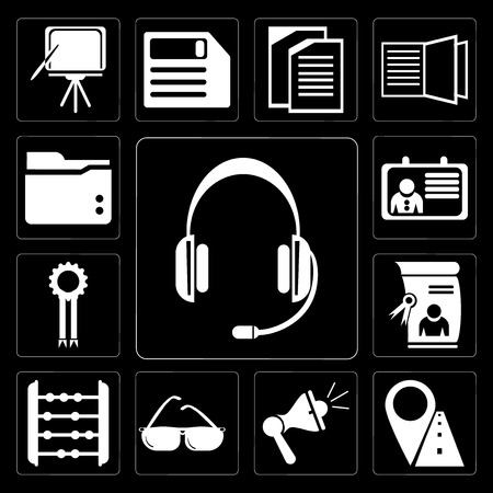 Set Of 13 simple editable icons such as Headset, Marker, Megaphone, Sunglasses, Abacus, Diploma, Medal, Id card, Folder on black background