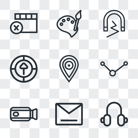 Set Of 9 simple transparency icons such as Headphones, Envelope, Video camera, Share, Placeholder, Upload, Magnet, Paint, Remove, can be used for mobile, pixel perfect vector icon pack on transparent