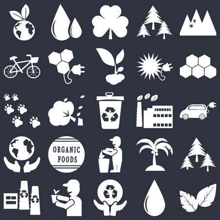 Set Of 25 simple editable icons such as Leaves, Electric Car, Eco power cells, Oil drops, Recycling factory, Bio energy, Coconut tree, Footprint on black background, web UI icon pack