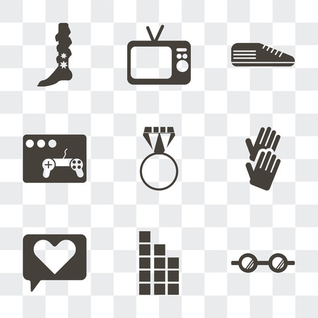 Set Of 9 simple transparency icons such as Eyeglasses, Tetris, Love, Glove, Ring pop, Video game, Sneaker, Television, Leg warmer, can be used for mobile, pixel perfect vector icon pack on Vektorgrafik