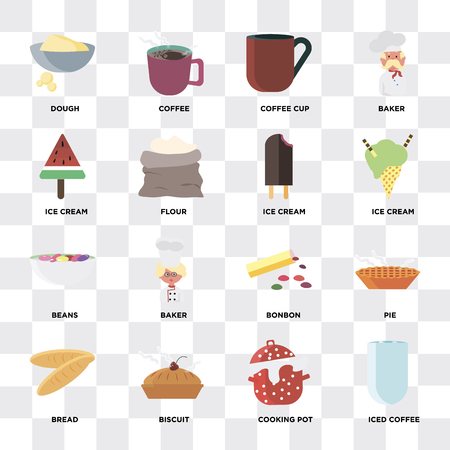 Set Of 16 icons such as Iced coffee, Cooking pot, Biscuit, Bread, Pie, Dough, Ice cream, Beans on transparent background, pixel perfect Ilustração