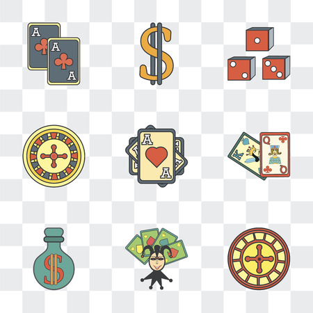 Set Of 9 simple transparency icons such as Gambling, Gambler, Money, Cards, Ace of hearts, Slot machine, Dollar, can be used for mobile, pixel perfect vector icon pack on