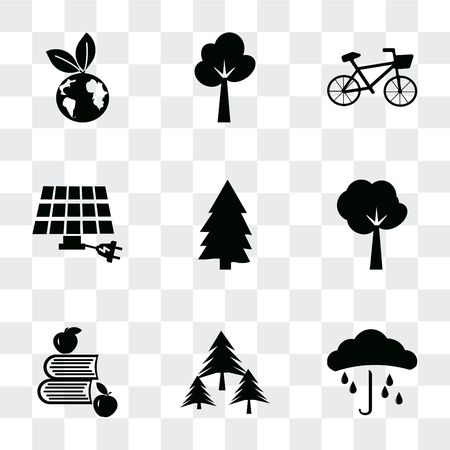 Set Of 9 simple transparency icons such as Raindrop on a hand, Forest, Apple and books, Tree of circular foliage, Pine, Eco energy power, Bicycle, Tree, energy, can be used for mobile, pixel