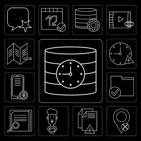 Set Of 13 simple editable icons such as Database, Placeholder, File, User, Notepad, Folder, Smartphone, Stopwatch, Map on black background Stock Illustratie