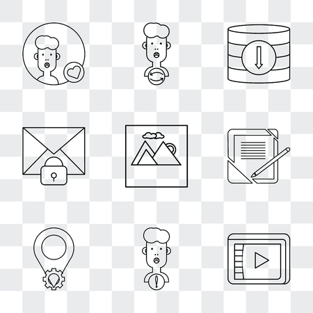 Set Of 9 simple transparency icons such as Video player, User, Placeholder, Notebook, Image, Mail, Database, can be used for mobile, pixel perfect vector icon pack on transparent