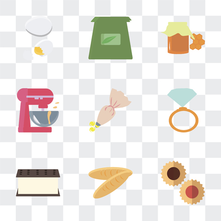 Set Of 9 simple transparency icons such as Cookies, Bread, Ice cream, Ring pop, Pastry bag, Mixer, Honey, Tea Egg, can be used for mobile, pixel perfect vector icon pack on transparent