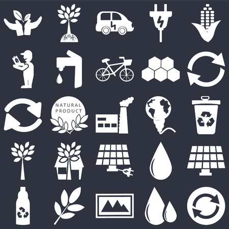 Set Of 25 simple editable icons such as Reload, Recycle bin, Recycling, Tree and roots, Recycled bottle, Water tap, Drop, arrows on black background, web UI icon pack