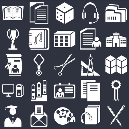 Set Of 25 icons such as Pencil, Audiobook, Connection, , Diploma, School, Protractor, Id card, Computer, Trophy, Dice, Copy on black background, web UI editable icon pack