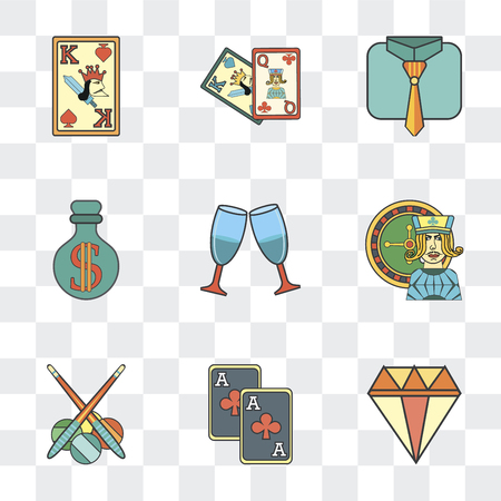 Set Of 9 simple transparency icons such as Precious stone, Gambler, Billiards, Gambling, Cheers, Money, Tie, Cards, King of spades, can be used for mobile, pixel perfect vector icon pack on