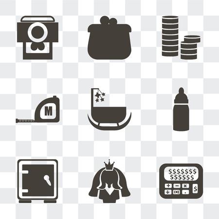 Ensemble de 9 icônes de transparence simples telles que la calculatrice et le dollar, l'avatar de la mariée, le coffre-fort, le biberon, le berceau, le ruban à mesurer, les piles de pièces de monnaie, le porte-monnaie, l'image du cœur de l'appareil photo, peuvent être utilisés pour