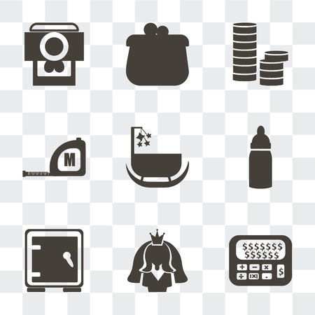 Set Of 9 simple transparency icons such as Calculator and dollar, Bride avatar, Safe box, Baby Bottle, Cradle, Measuring tape, Stacks of coins, Coin purse, Camera heart picture, can be used for