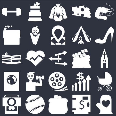 Set Of 25 simple editable icons such as Prawn, Safe money, Shoe side view, Tennis ball, Camera and heart picture, Stroller, Electrocardiogram on shape, web UI icon pack, pixel perfect