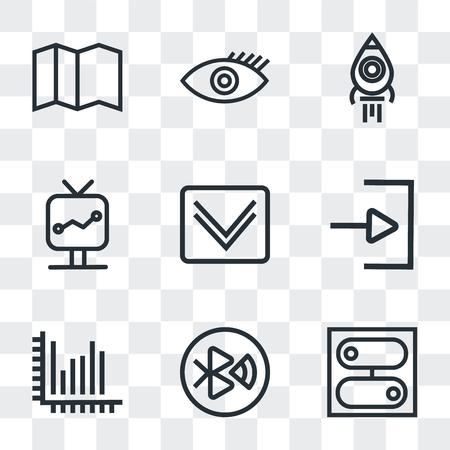 Ensemble de 9 icônes de transparence simples telles que commutateur, dent, statistiques, flèche vers le bas, écran, lancement de fusée, visible, carte, peuvent être utilisées pour le mobile, pack d'icônes vectorielles parfait pixel sur fond transparent