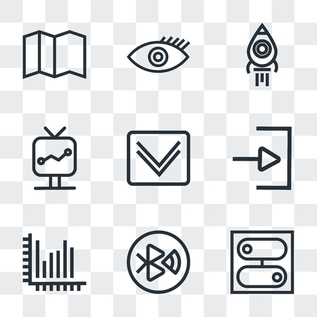 Set Of 9 simple transparency icons such as Switch, tooth, Stats, Down arrow, Screen, Rocket launch, Visible, Map, can be used for mobile, pixel perfect vector icon pack on transparent background Иллюстрация