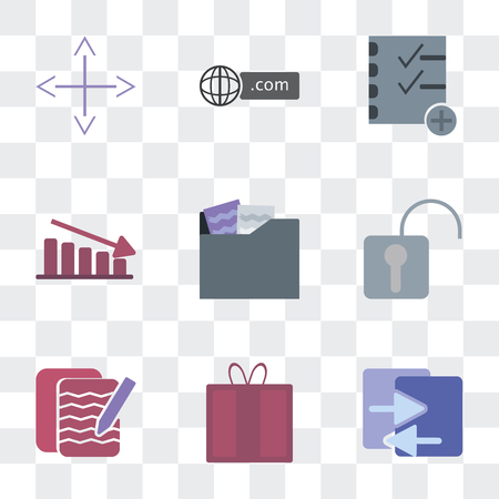 Set Of 9 simple transparency icons such as File sharing, Offer, Notepad, Security, Folder, Fluctuation, Strategy, Domain, Diversify, can be used for mobile, pixel perfect vector icon pack on Illustration