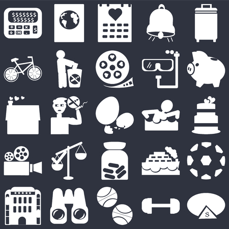 Set Of 25 simple editable icons such as Wedding cake, Basketball, Pair of binoculars, House with a heart, Eggs sillhouettes, web UI icon pack, pixel perfect Stock Illustratie