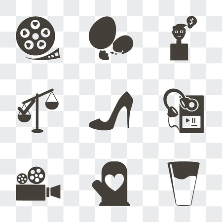 Set Of 9 simple transparency icons such as Glass of water with drop, Cooking mitts, Video camera, MP3 player headphones, Shoe side view, Approval, Ideas to earn money, Eggs sillhouettes, Film