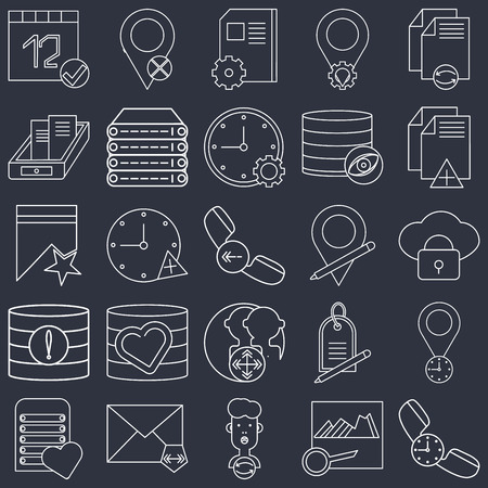 Set Of 25 icons such as Phone call, Image, User, Mail, Server, File, Placeholder, Database, Archive, Notebook, Placeholder on black background, web UI editable icon pack