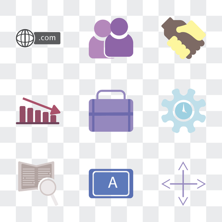 Set Of 9 simple transparency icons such as Diversify, App, Book, Time, Portfolio, Fluctuation, Handshake, Team, Domain, can be used for mobile, pixel perfect vector icon pack on transparent