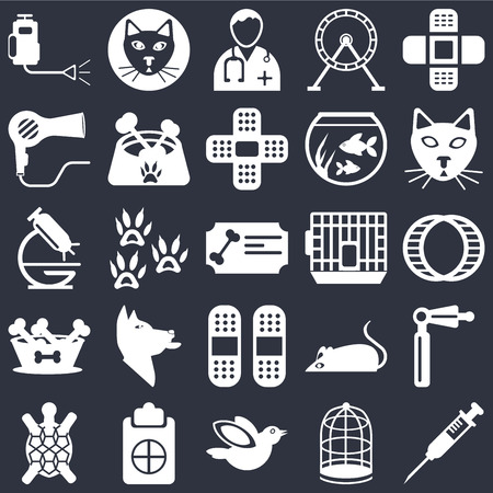 Set Of 25 icons such as Injection, Cage, Bird, Notepad, Turtle, Cat, Plaster, Dog food, Dryer, Doctor, Cat on black background, web UI editable icon pack Illustration