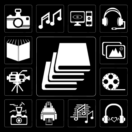 Set Of 13 simple editable icons such as Books, Headphone black shape, Music note black, Printer, Photo camera with flash, Film roll side view, Video camera, Images on background Vectores