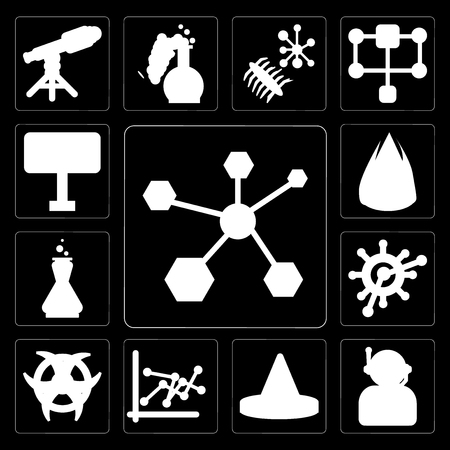 Set Of 13 simple editable icons such as Structure, Astronaut, Cone, Line chart, Radiation, Organism, Chemistry, Heat, Area 51 on black background Illustration
